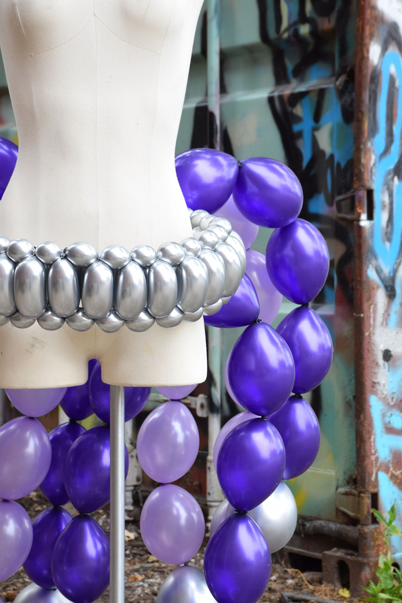 Purple Balloon Dress detail