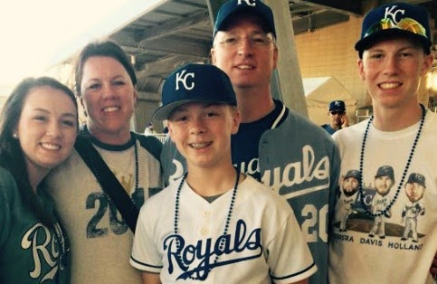Everett Lanter and his family at Kauffman Stadium.