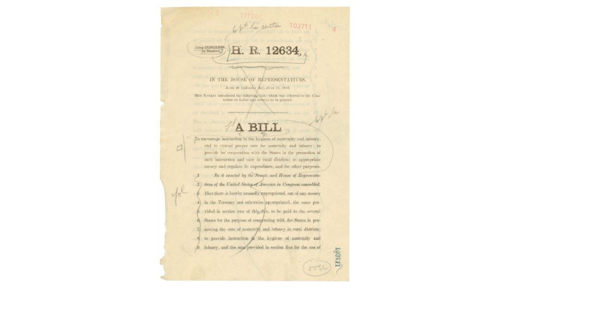 This is bill H.R. 12634, a version of the bill that would become the Sheppard-Towner Maternity and Infancy Protection Act in 1921.