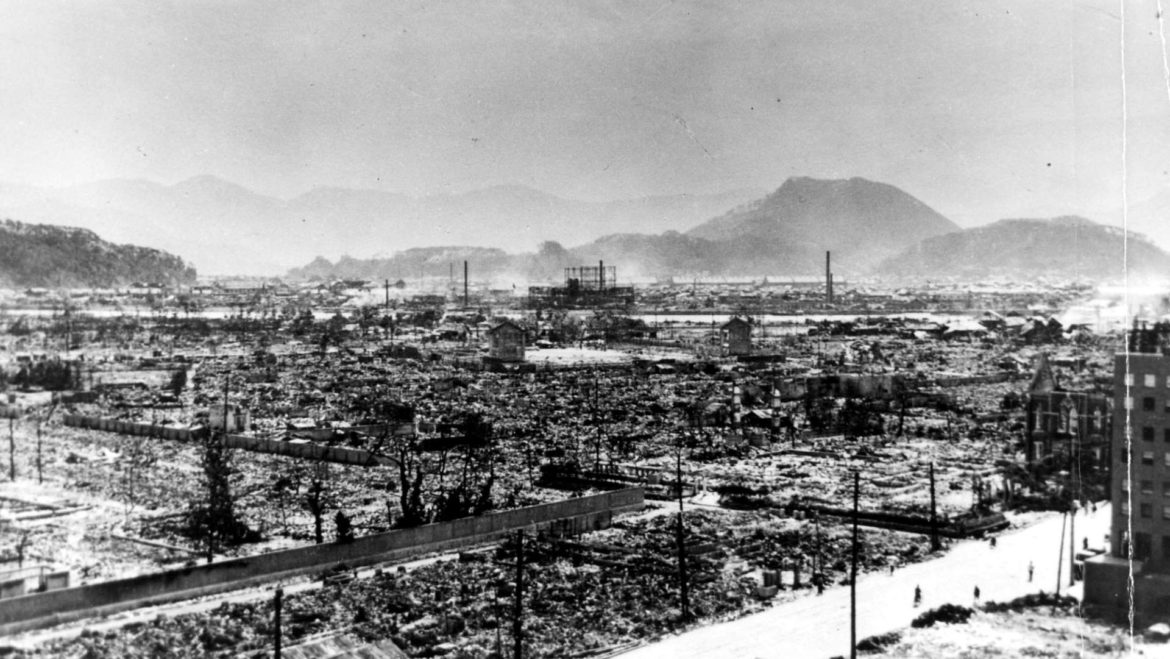 The devastation of Hiroshima following the atomic bomb.