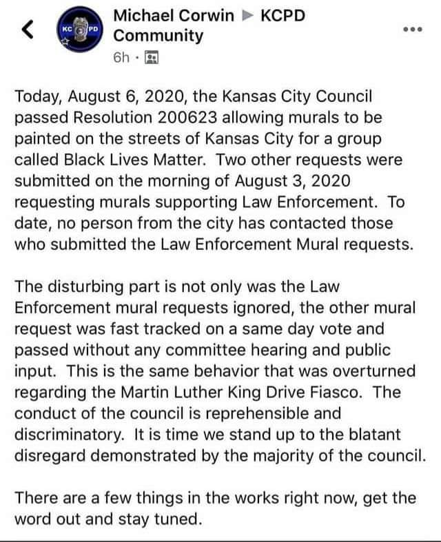 KCPD police officer reaction to BLM mural project