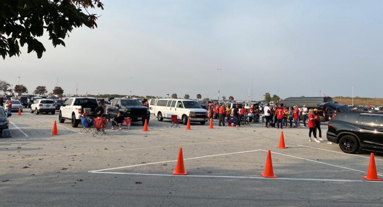 Tailgating in the Arrowhead Stadium parking lot.