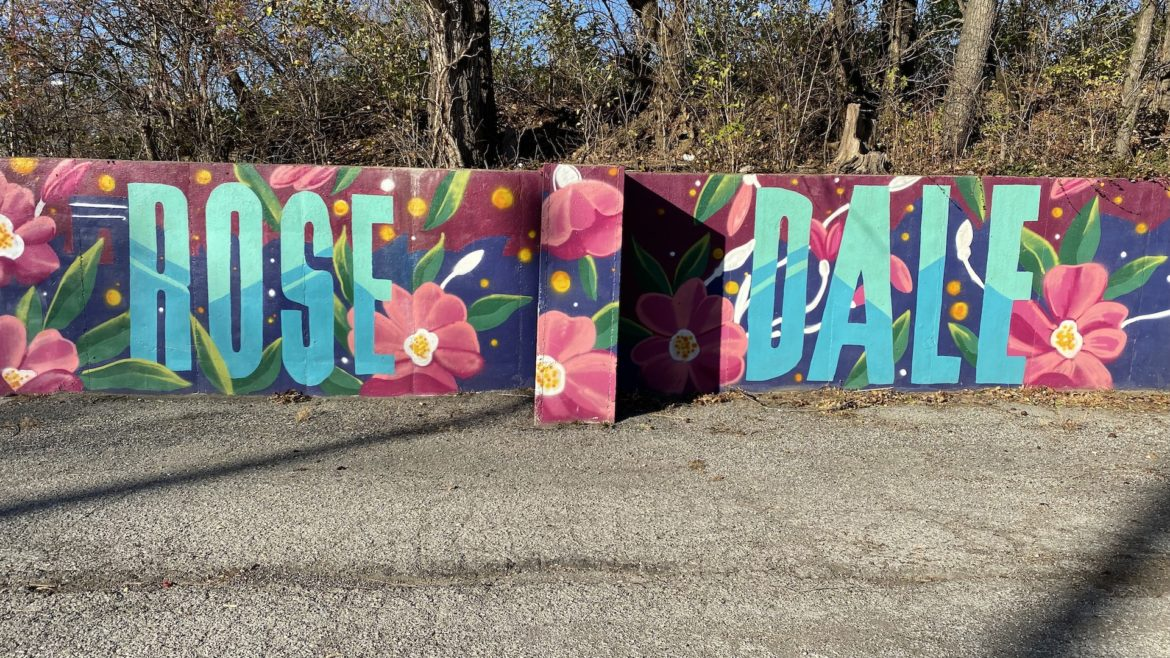 A section of a mural dedicated to Rosedale's history and community members near Rosedale Park.