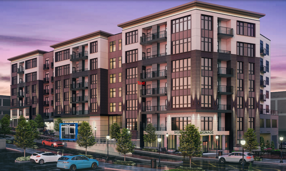 Rendering of six-story Ashland on Third apartments