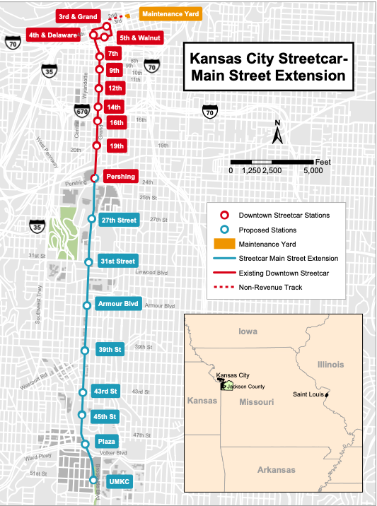 A map of the current and planned Kansas City streetcar system