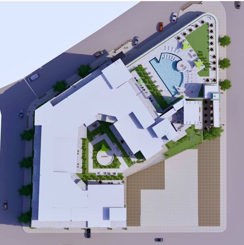 A site plan of the Katz apartment development shows a pool being located on the roof of the historic building.