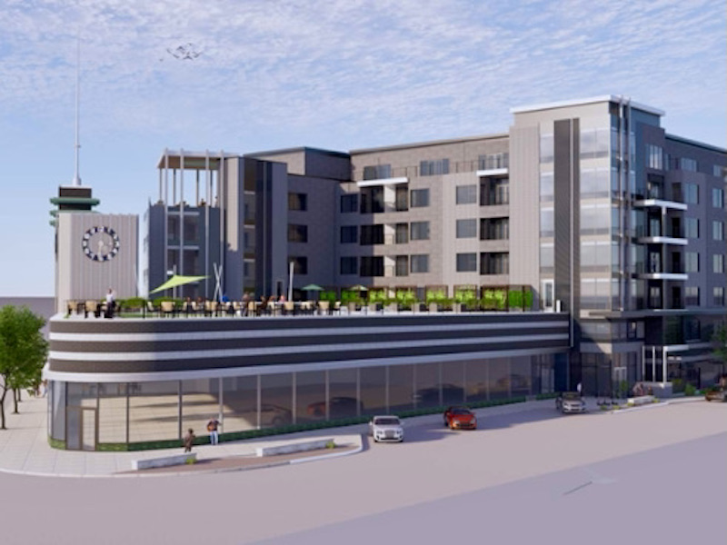 The Lux Living development plan calls for a six-story apartment building that would use the former Katz Drug as an amenity center for residents.