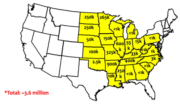 Map of dicamba damage.