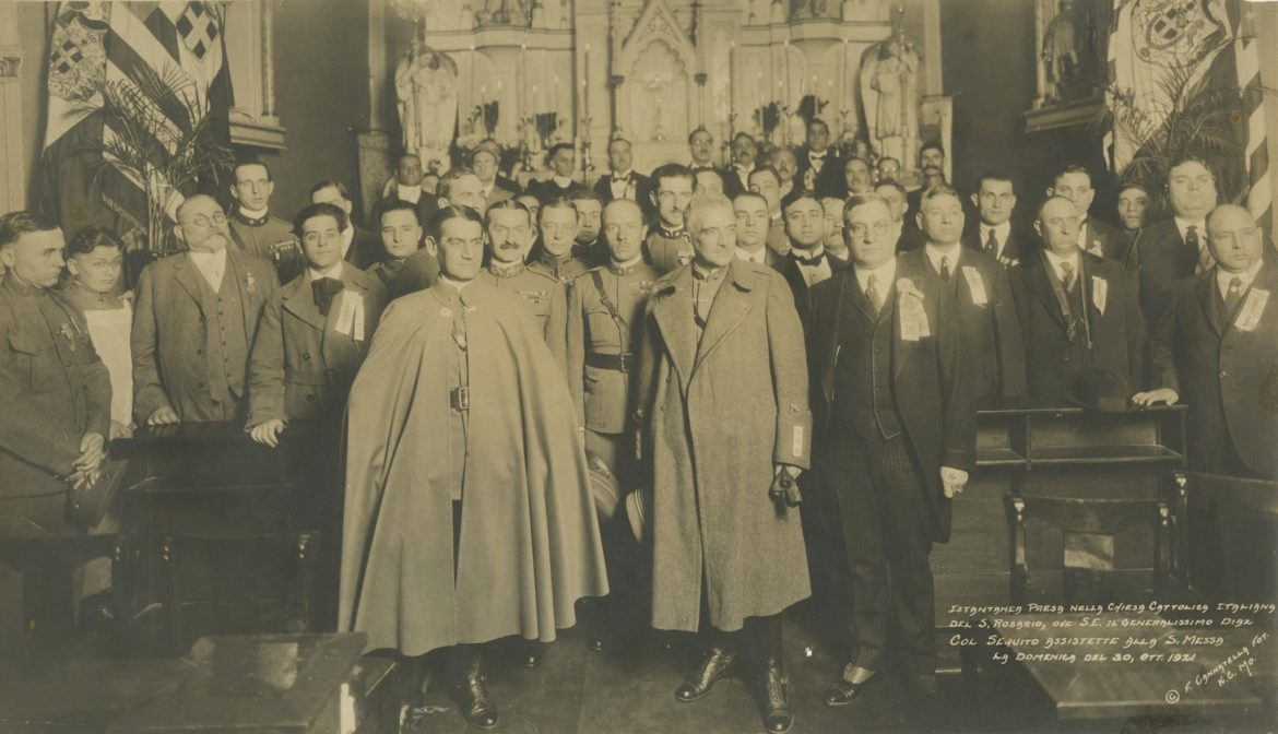 Gen. Armando Diaz of Italy and his staff along with members of the community at Holy Rosary Church in 1921.