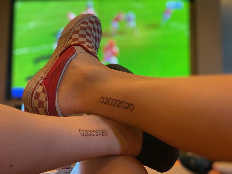 Cassandra Gillespie's matching palindrome Chiefs-inspired tattoo.