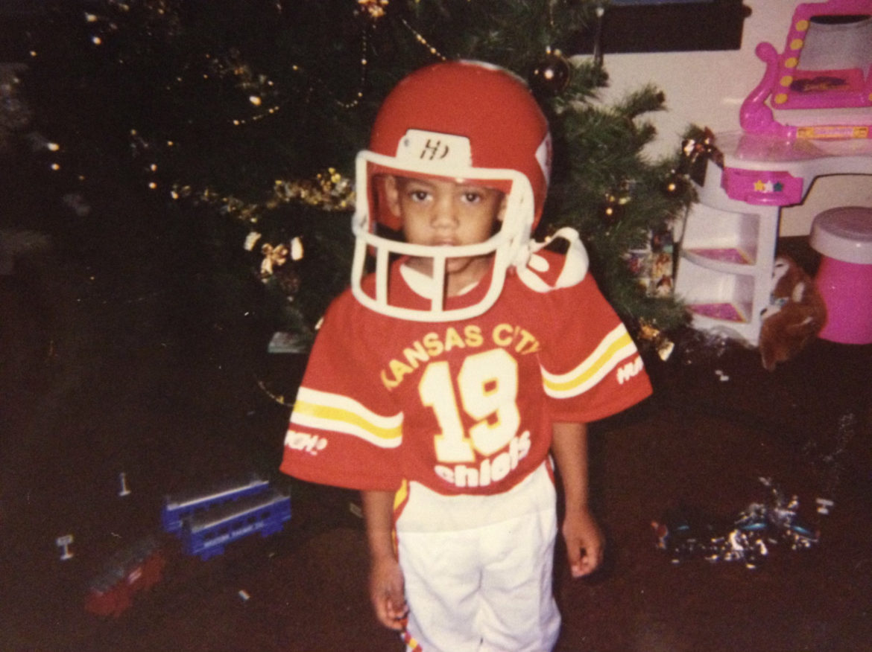 Hamilton in a Chiefs uniform as a boy.