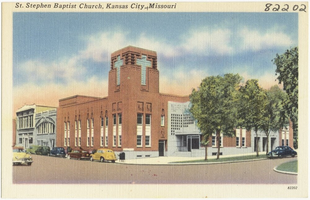 Postcard image of St. Stephen Baptist Church in Kansas City, Missouri, circa 1945.
