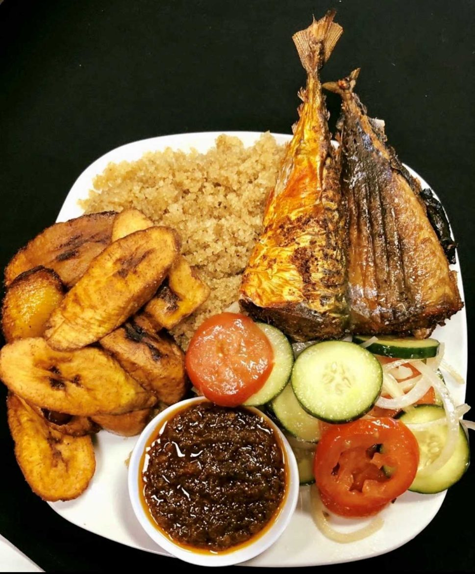 A plate of food from Fannie's West African Cuisine