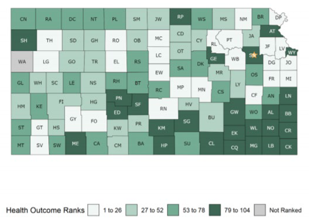 A map of Kansas counties ranked by health outcomes.