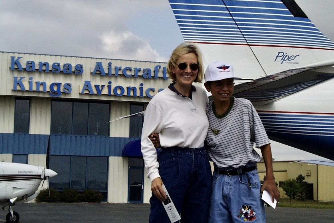 Michele Stauffer before taking off for an Angel Flight with a boy from Mexico who was born blind.
