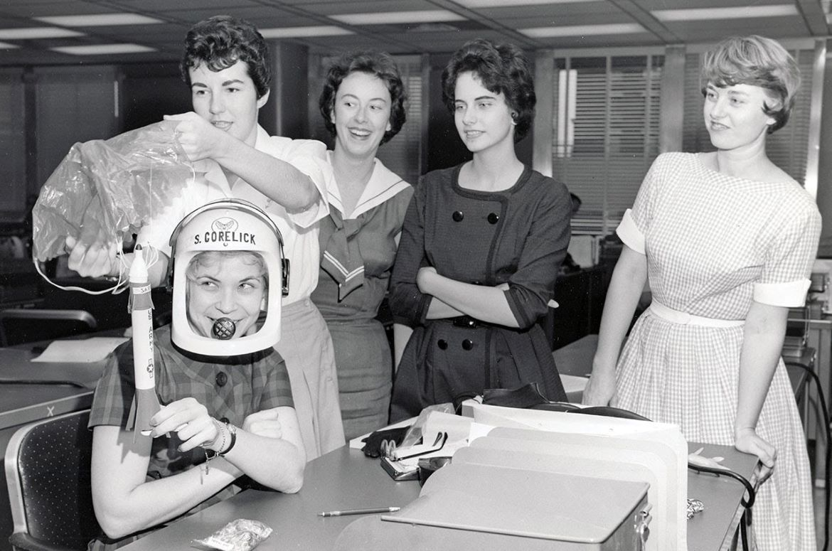 Sarah Gorelick, pictured front, was recruited to run the same physical and psychological tests as the Mercury Seven team.