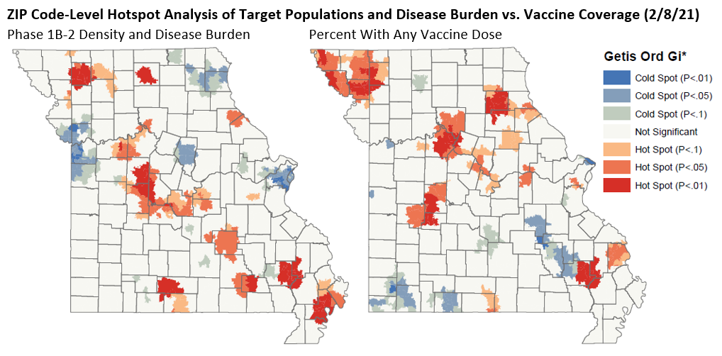 Maps comparing COVID-19 vaccine distribution with where the disease is most prevalent.