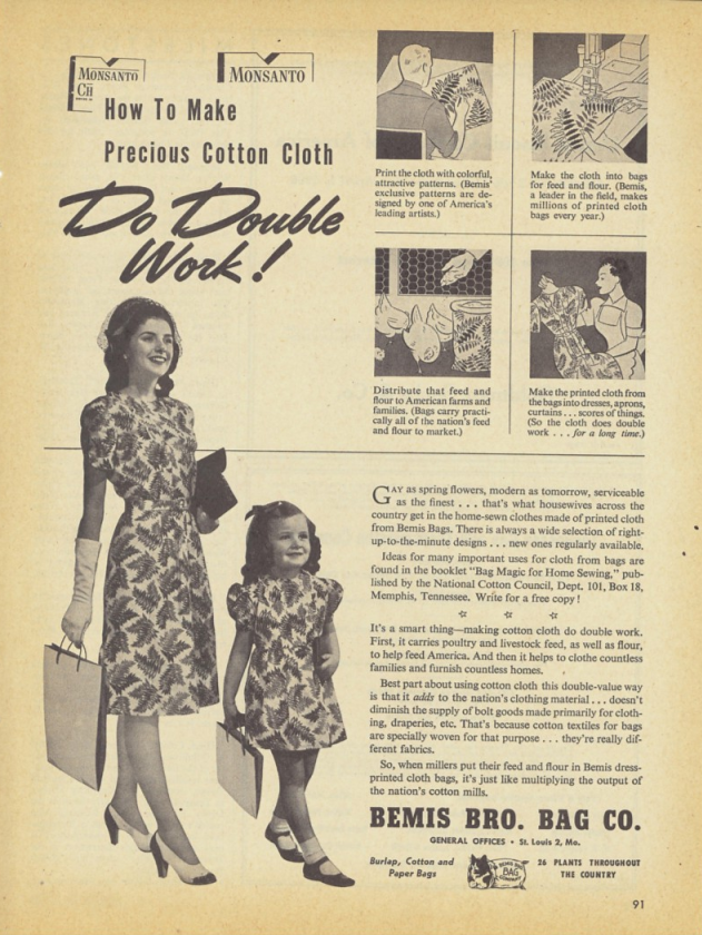 An advertisement from St. Louis bag company Bemis Bro. Bag Co.