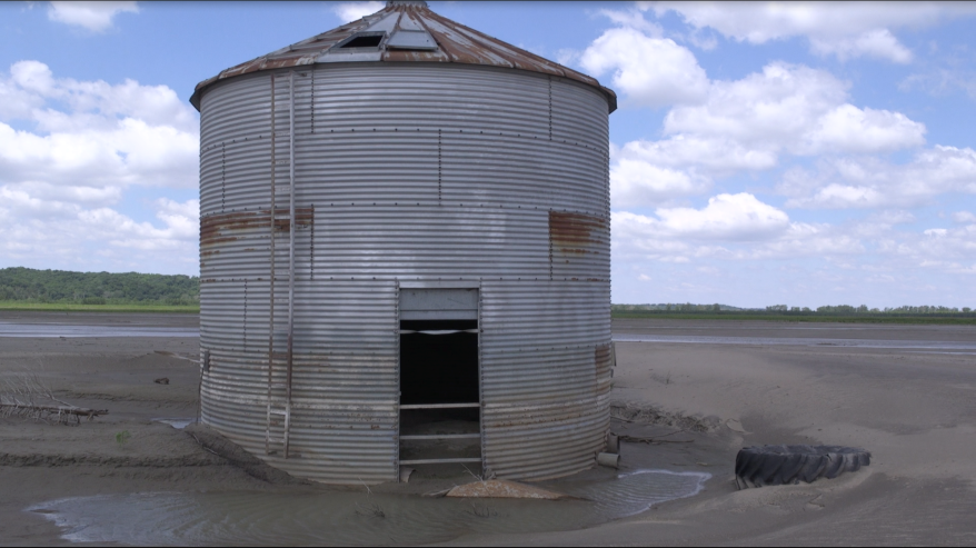 A grain bin next to one of Trey Garst's farms in 2020. The flood of 2019 made farming some land close to the Missouri River impossible.