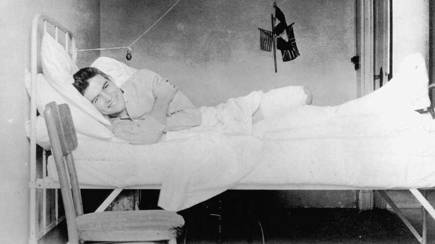 Ernest Hemingway recovering from injuries at the American Red Cross Hospital in Milan, Italy, 1918.