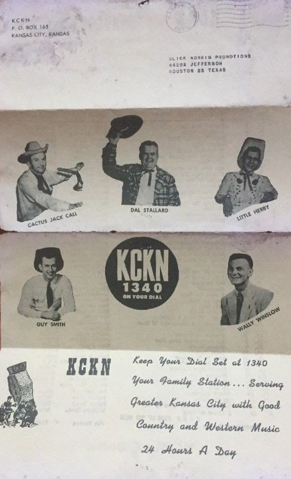 "In a 1957 ""Fabulous Fifty"" sheet distributed by KCKN, a photo of ""Cactus"" Jack Call (upper left) was included with pictures of other station disc jockeys."