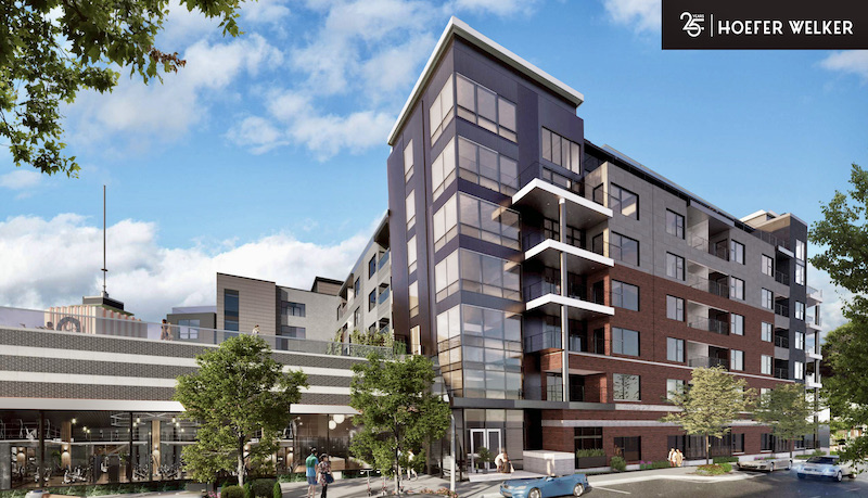 The design of the apartment project planned for behind Katz has been tweaked to add a brick exterior to the lower levels.