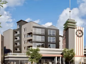 The apartment building design has been modified to better set off the iconic Katz Drug clock tower.