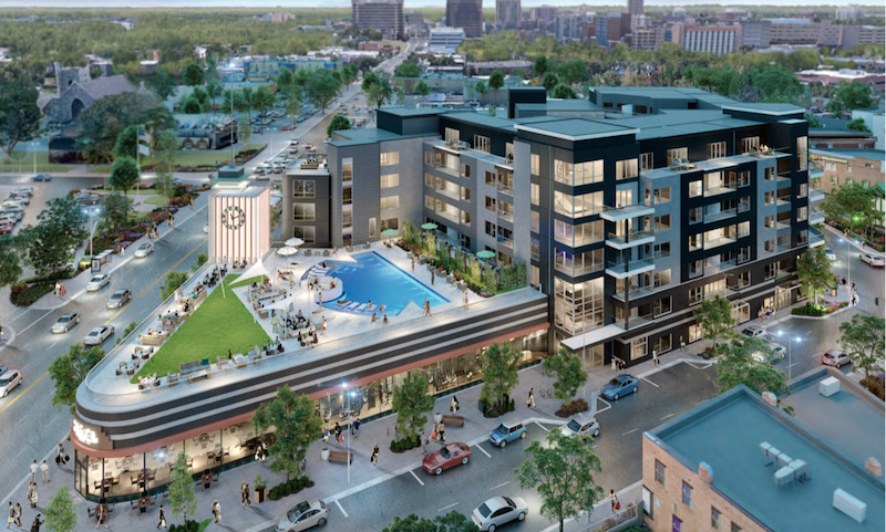 The Katz apartment project plans to use the rooftop of the historic drugstore for a pool and other resident amenities.