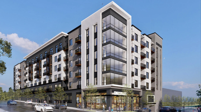 Lux Living is planning this 228-unit apartment building at the corner of 19th and Broadway in the Crossroads.