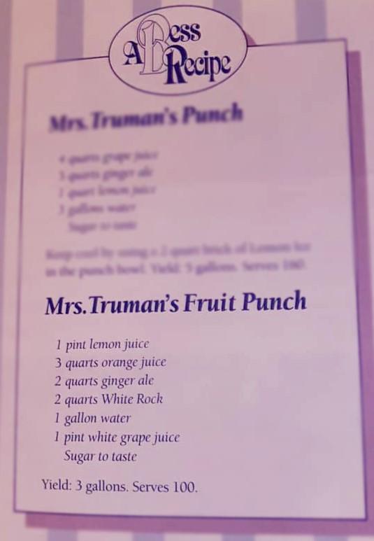 Mrs. Truman's Fruit Punch Recipe.