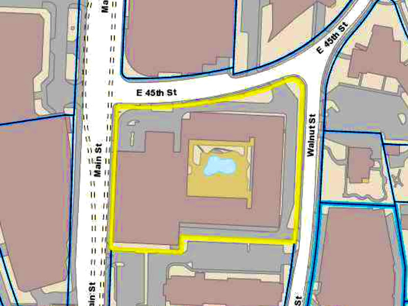 The Museum Tower site is proposed for the southeast corner of 45th and Main streets.