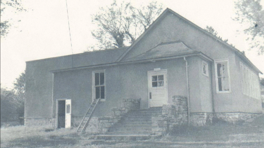 A photo of the segregated Walker School, which served Back children in Merriam, Kansas.