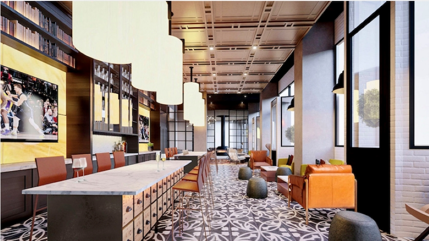 A rendering of the coffee bar and entertainment kitchen at the Midland Lofts.