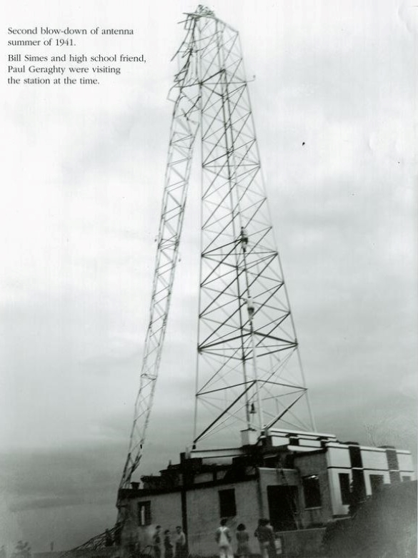 The KMBC radio tower was partially toppled by a storm during the summer of 1941.