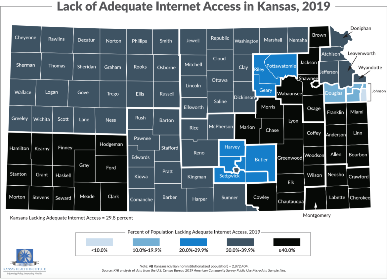 A Kansas Health Institute Map showing internet access across Kansas.