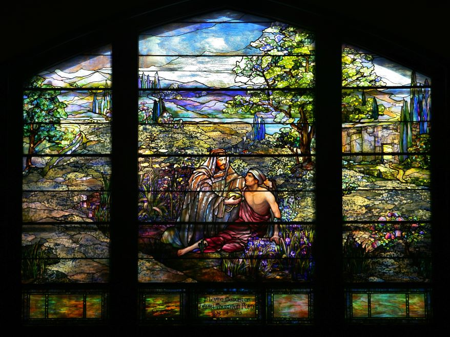Stained-glass windows at Second Presbyterian Church.
