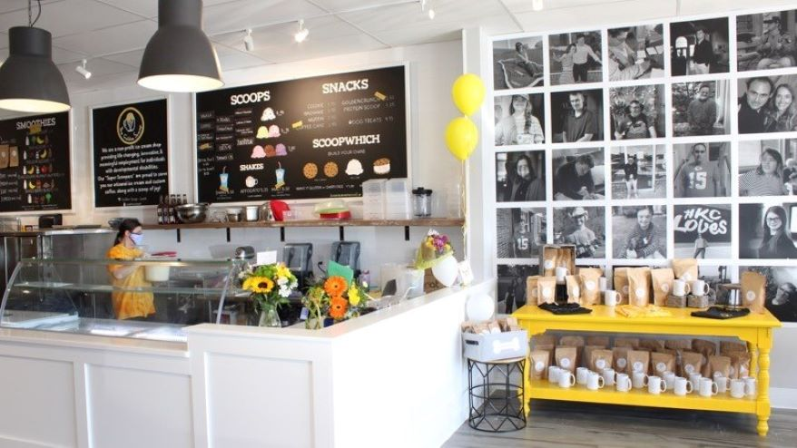 The Golden Scoop is a nonprofit ice cream and coffee shop employing adults with developmental and intellectual disabilities.