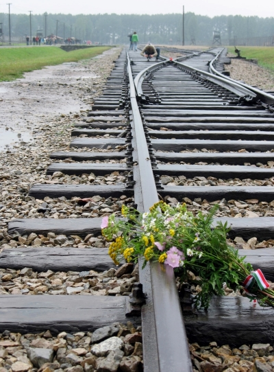 Memorial flowers placed on the railroad tracks that brought prisoners to the Nazis' Auschwitz-Birkenau death camp in Poland.
