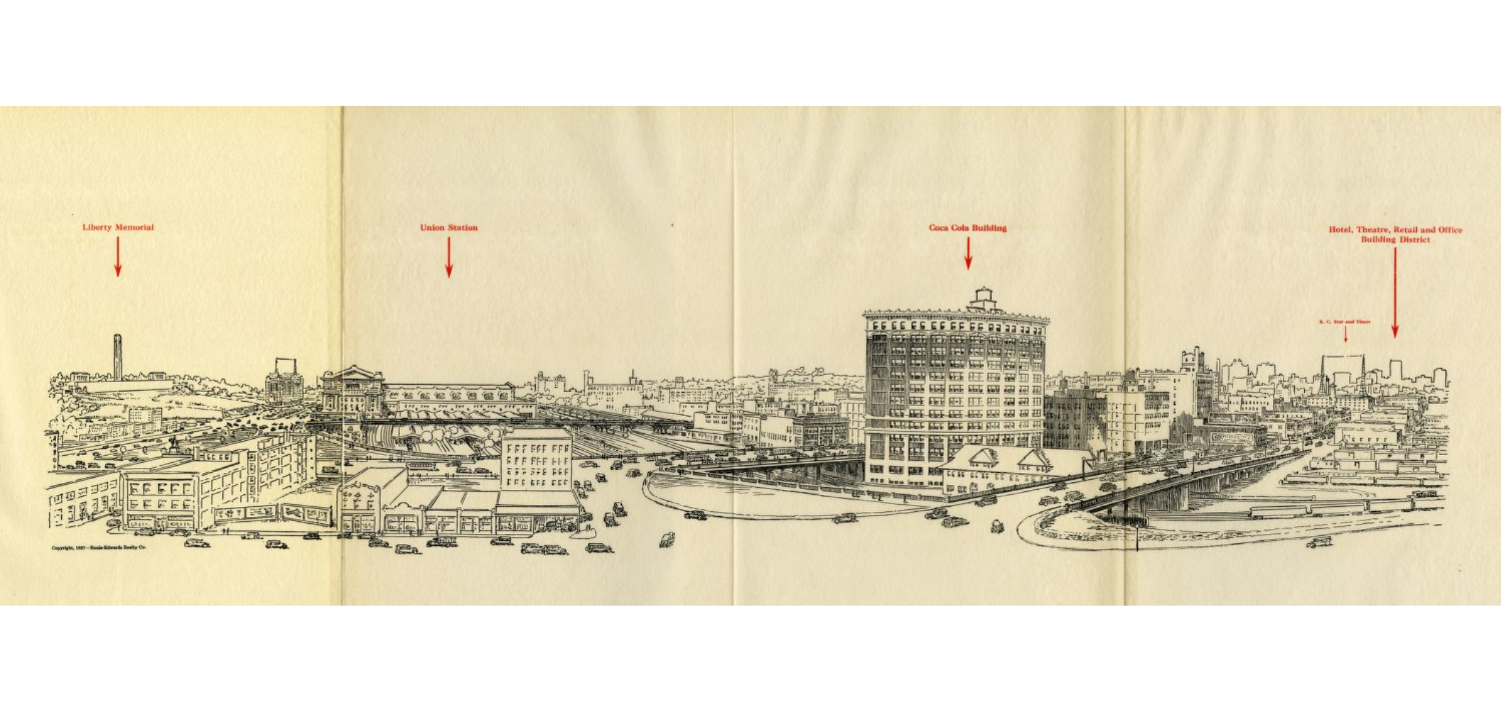 A promotional drawing by Ennis-Edwards Realty Company pinpointed the benefit of its location in proximity to other Kansas City landmarks. (Kansas City Public Library | Missouri Valley Special Collections)