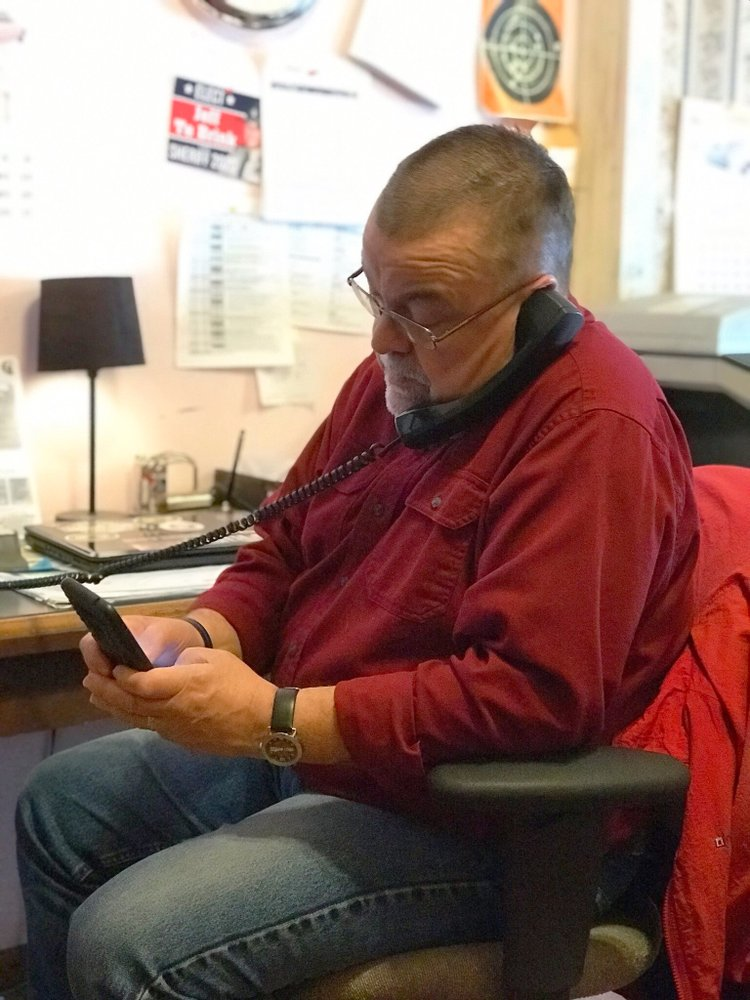 Northeast News Publisher Michael Bushnell at work.