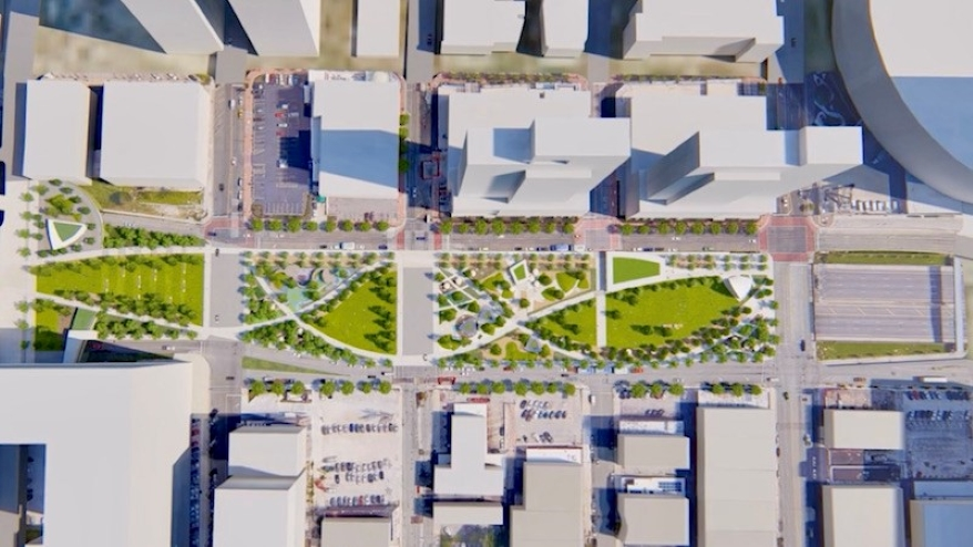 The South Loop Link could run up to four blocks between Wyandotte and Grand.