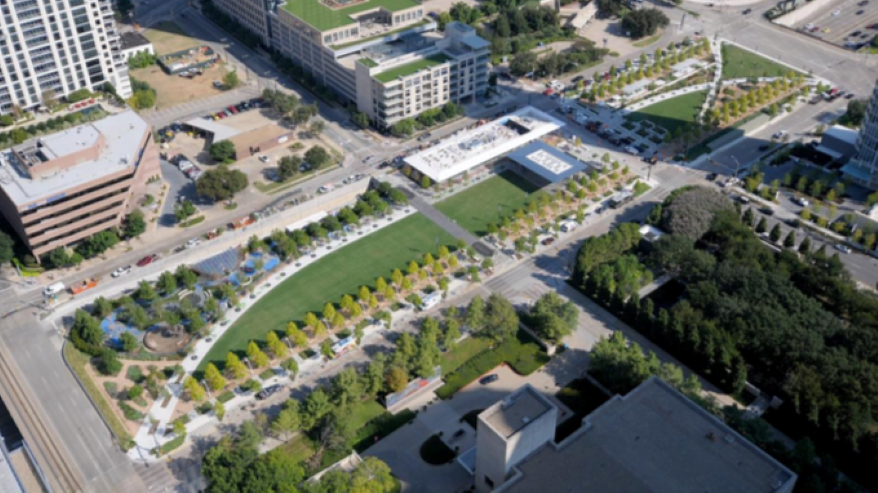 Klyde Warren Park was built over a downtown freeway in Dallas.