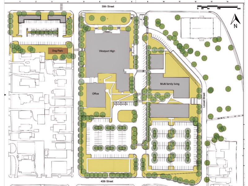 The master plan for redeveloping the 11.4-acre Westport High site includes new apartment construction on the east side of the property and reconnecting Oak Street between 39th and 40th streets.