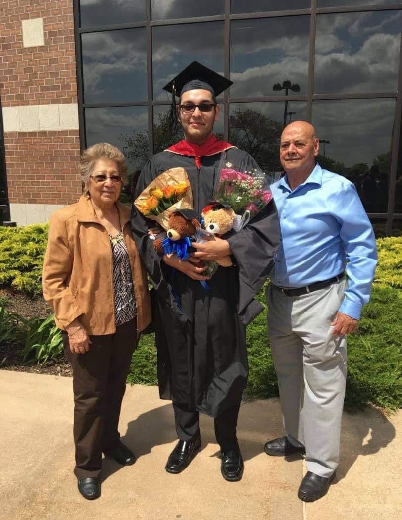 Oscar Orozco with his grandparents