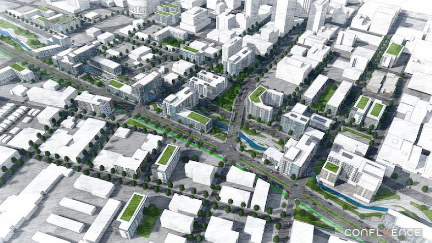 Overhead view of how the North Loop corridor could look if the freeway was removed and revitalized.