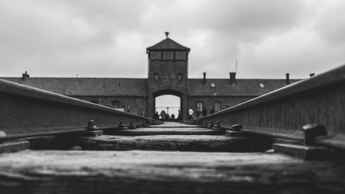 The rails leading into the Auschwitz death camp in Poland.