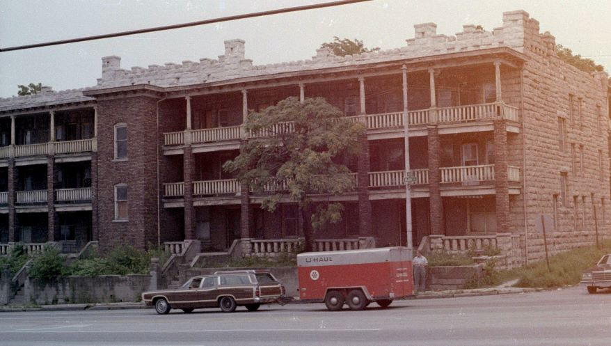 This cramped apartment building, which once stood at 30th and Main streets in Kansas City, Missouri, was the initial residence of many Holocaust survivors and their families.