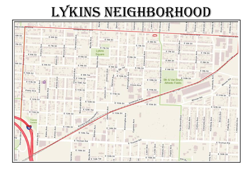 A boundary map of the Lykins neighborhood in Kansas City's northeast neighborhood.