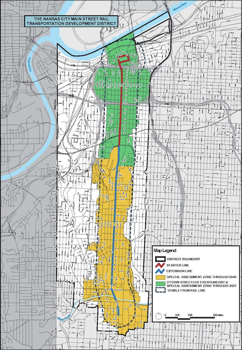 The Transportation Development District established to raise local revenues for the Main Street extension includes the areas in green and yellow where a special property tax assessment will be levied. An additional one-cent sales tax for the entire TDD goes into effect July 1.