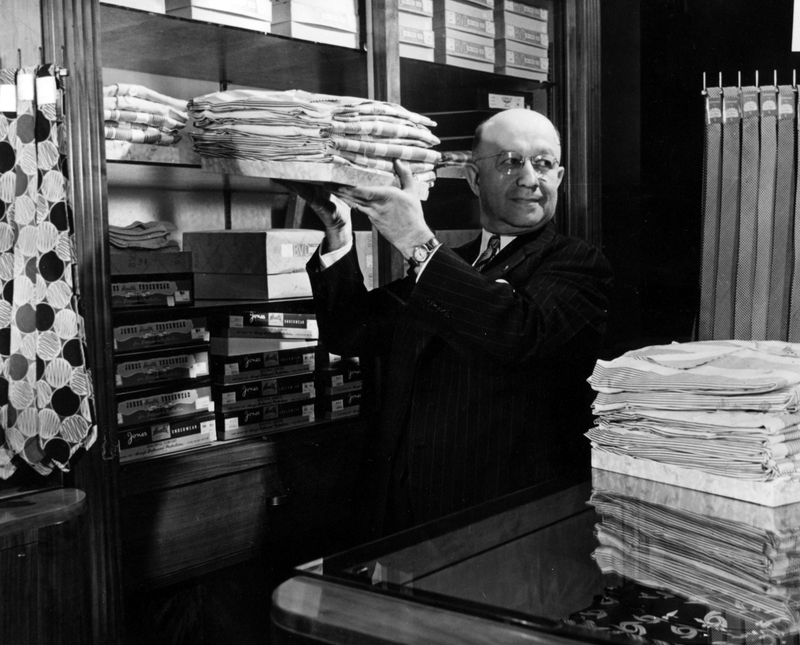 Eddie Jacobson, after many years of traveling as a men's shirt company representative, in 1945 opened his own store at 39th and Main streets in Kansas City.